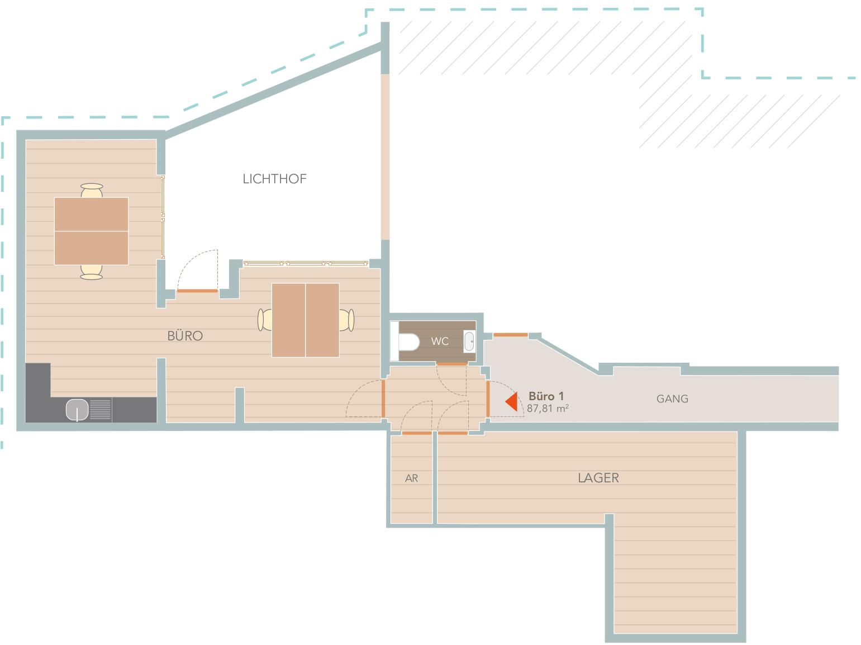 Appartement Graz Büro Grundriss